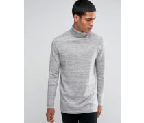 Langer Rollkragenpullover aus grauer Baumwolle Grau