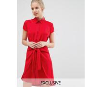 Closet Vorne geschnürtes Kleid mit Flügelärmeln Rot