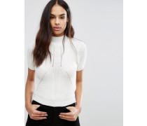 Pullover aus Rippstrick mit hohem Ausschnitt Weiß