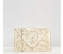 Perlenbesetzte Umschlag-Clutch Mehrfarbig