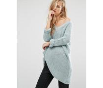 Oversize-Pullover mit tiefem V-Ausschnitt Blau