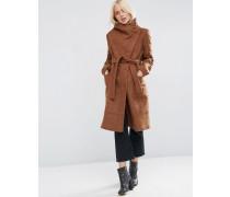 Mantel in Wollmischung mit Stehkragen und geschnürter Taille Braun