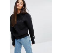 Oversize-Sweatshirt mit aufgesticktem Text Schwarz