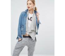 Jeansjacke mit Unterjacke aus Wolle Blau