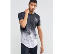 Geblümtes T-Shirt mit abgerundetem Saum Schwarz