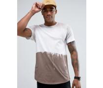 Lang geschnittenes T-Shirt mit Farbklecks-Design Beige