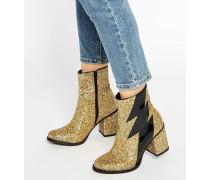 Thunder Gold glitzernde Ankle-Boots mit Absätzen Gold