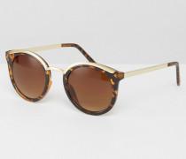 Katzenaugen-Sonnenbrille mit Schildpattrahmen Mehrfarbig