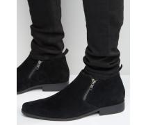 Schwarze Chelsea-Stiefel in Wildlederoptik Schwarz