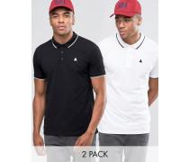 Pikee-Poloshirts in Schwarz/Weiß mit Streifen am Kragen und Logo, 2er-Pack, 11% RABATT Mehrfarbig