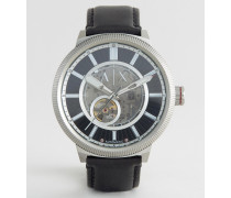 AX1418 Automatik-Uhr mit Lederarmband in Schwarz Schwarz