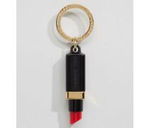 Schlüsselring mit Plexiglas-Anhänger in Lippenstiftform Schwarz
