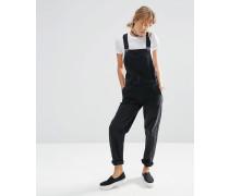Jeans-Latzhose in verwaschenem Schwarz Schwarz