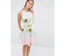 Tuliaa Skaterkleid mit Pearly-Petal-Print Rosa