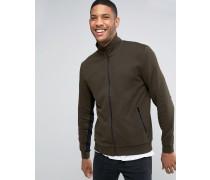 Jersey-Trainingsjacke in Khaki mit Kontrasteinsätzen an den Ärmeln Blau