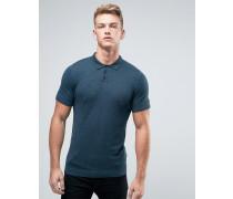 Strick-Polohemd in Muskeshirtform Blau