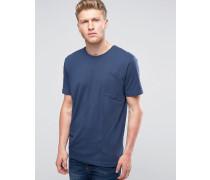 Marineblaues T-Shirt mit Tasche Marineblau