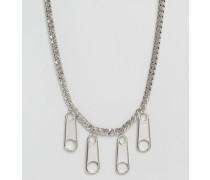 Kette mit Reißverschlussanhänger Silber