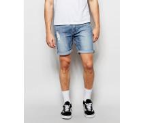 Schmale Jeans-Bermudas in Used-Optik mit Future-Waschung Blau