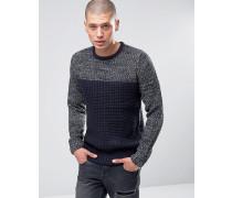 Pullover mit verdrehtem Einsatz in Blockfarben Marineblau