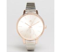 Uhr in Silber und Roségold mit glattem Armband Mehrfarbig
