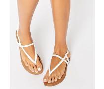 Flache Sandale mit Zehensteg Weiß