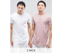 2er Pack lange T-Shirts mit Rundhalsausschnitt in Weiß/Rosa, SPAREN Mehrfarbig