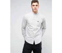 Retrokragen T-Shirt mit Tasche in regulärer Passform Grau