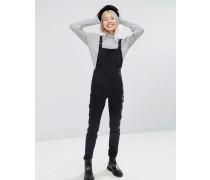 Skinny-Jeans-Latzhose mit D-Ringen in verwaschenem Schwarz Schwarz