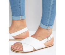 Sandalen aus weißem Leder mit Kreuzriemchen Weiß