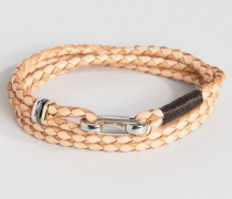 Hellbraunes Leder-Wickelarmband Bronze