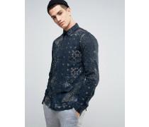 Hemd im Mustermix und normaler Passform Marineblau