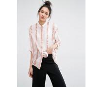 Mallih Rosa gestreiftes Shirt Cremeweiß