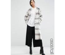 Mantel aus Wollmischung mit Karomuster und umgeschlagenen Bündchen Mehrfarbig