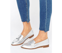 Metallic-Loafer Silber