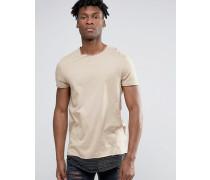 Superlanges T-Shirt mit U-Ausschnitt und gestreifter Saumverlängerung Beige