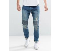 Eng geschnittene Biker-Jeans Blau