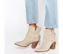 ELISHIA Wildleder-Ankle Boots im Slouch-Stil Beige