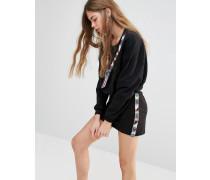Sweatshirt mit Perlenbesatz Schwarz