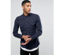 Schmal geschnittenes Flanellhemd mit doppeltkarierter Tasche Marineblau