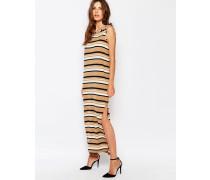 Ärmelloses Jersey-Kleid mit Streifen Beige