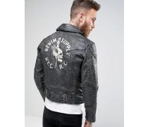 Denim & Supply Schwarze Bikerjacke aus beschichtetem Denim mit Rücken-Print Schwarz