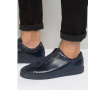 Sneaker in Schlangenlederoptik Marineblau