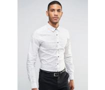Weißes, schmales Hemd mit Etch-Print Weiß