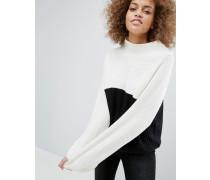 Hochgeschlossener Pullover mit Blockfarben Mehrfarbig