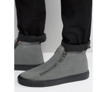 Graue Stiefel in Wildlederoptik mit Reißversschlüssen und derber Sohle Grau