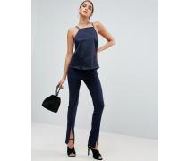 Sexy Hose mit Schlitz vorn, enge Passform Marineblau
