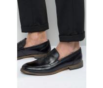 Loafer aus schwarzem Leder mit Natursohle Schwarz