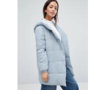 Wattierter Mantel in Wickeloptik Grau