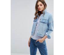 Jeansjacke mit Rüschenverzierung Blau
